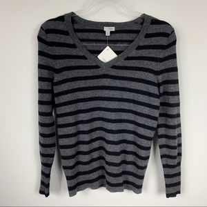 Halogen Grey Black Striped V-Neck Cashmere Sweater
